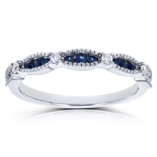 Annello by Kobelli 14k White Gold 1/4ct TCW Blue Sapphire and Diamond Accent Milgrain Wedding Ring