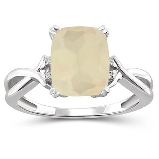 Jewelonfire Sterling Silver 3ct TGW Moonstone and Diamond Accent Ring