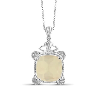 Jewelonfire Sterling Silver Moonstone and White Diamond Accent Pendant