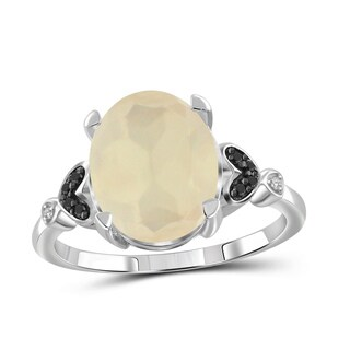 Jewelonfire Sterling Silver 4.25ct TGW Moonstone and 1/20ct TDW Diamond Ring