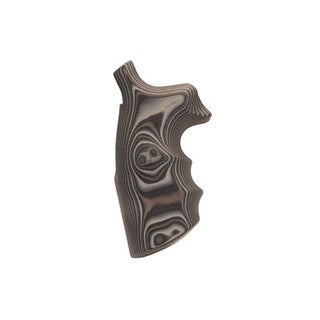 Hogue S&W N Frame Round Butt Grips Convert Finger Grooves, Smooth G-10 G-Mascus Black/Gray