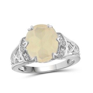 Jewelonfire Sterling Silver 4 1/4ct TW Moonstone and Diamond Accent Ring
