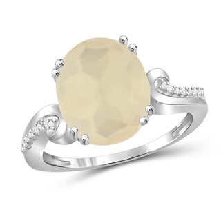 Jewelonfire Sterling Silver 4.25ct Moon Gemstone & Accent White Diamond Ring