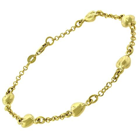 "14k Yellow Gold Womens Fancy Puff Hearts Cable Link Charm Bracelet Chain 6"", 7"", 10"""
