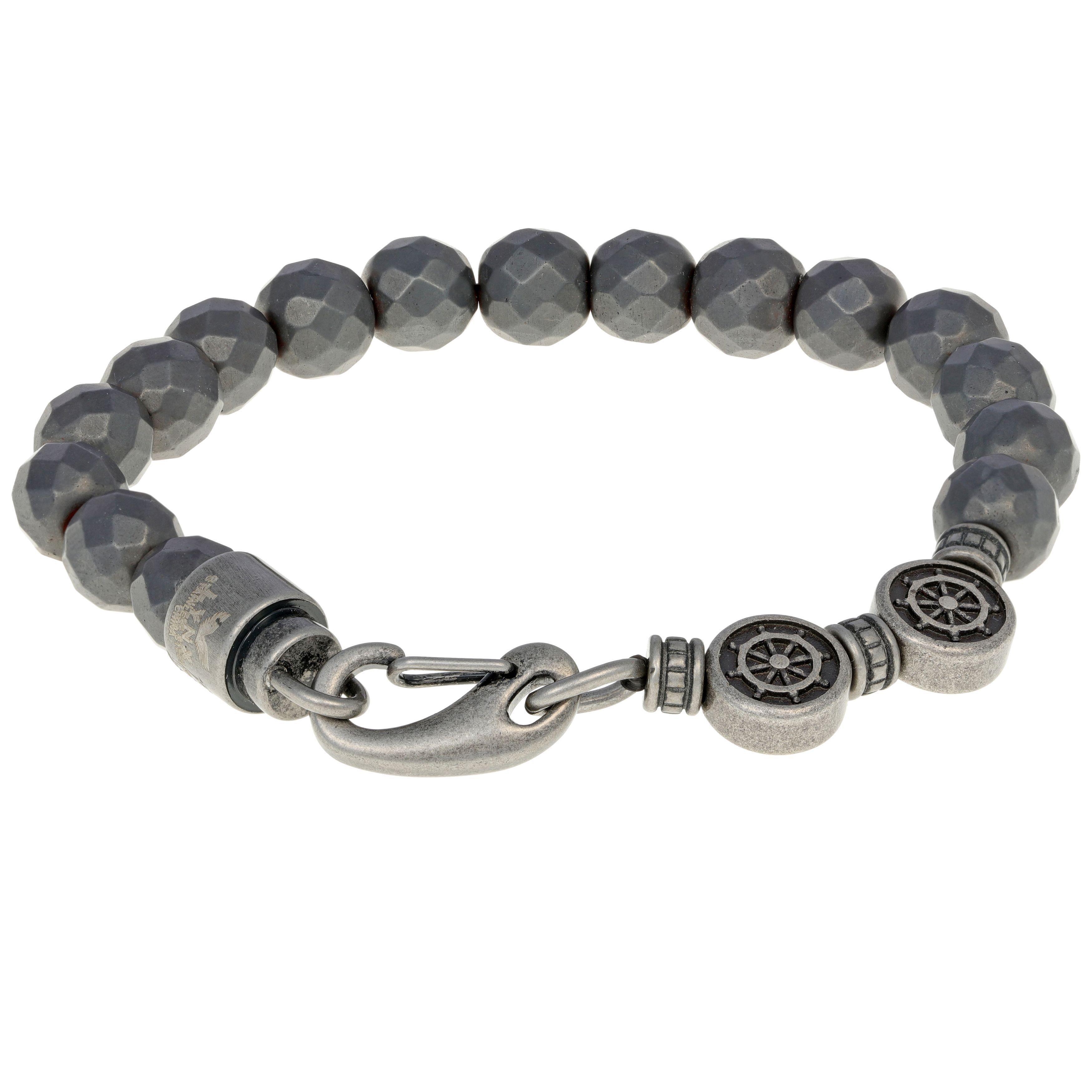 Men's Stainless Steel Hematite Strech Bracelet (Stainless...