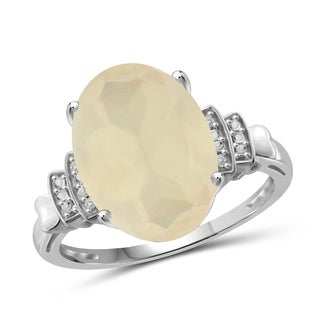 Jewelonfire Sterling Silver Moonstone and White Diamond Accent Ring