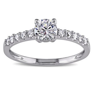 Miadora 14k White Gold White Cubic Zirconia and 1/4ct TDW Diamond Engagement Ring (G-H, I1-I2) Size 6 (As Is Item)