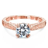 Annello by Kobelli 14k Rose Gold 1ct Moissanite (FG) and Diamond (GH) Antique Cathedral Engagement Ring