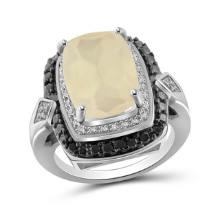 Jewelonfire Sterling Silver Black and White Diamond Accent Ring