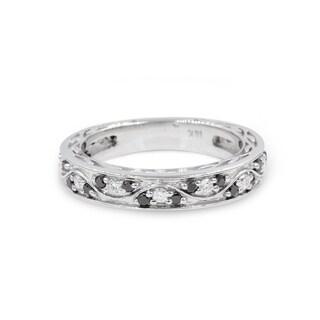 14k White Gold 1/3ct TDW Black and White Diamond Wedding Band (G-H, SI2-I1)