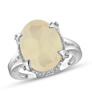 Jewelonfire Sterling Silver 8.2ct TGW Moonstone and Diamond Accent Ring