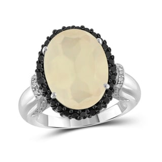 Jewelonfire Sterling Silver 8.20ct TGW Moonstone and 1/20ct TDW Diamond Ring