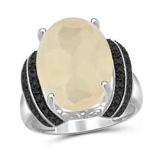 Jewelonfire Sterling Silver Moonstone and Accent Black Diamond Accent Ring