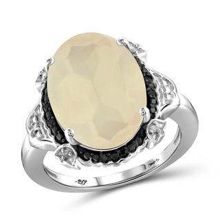 Jewelonfire Sterling Silver Moonstone and Black and White Diamond Accent Ring