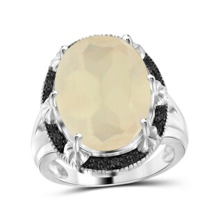 Jewelonfire Sterling Silver 11.10ct TW Moonstone and Black Diamond Accent Ring