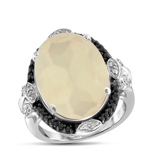 Jewelonfire Sterling Silver Moonstone, Black and White Diamond Accent Ring