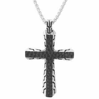Stainless Steel Blackplated Hammered Texture Cross Pendant Necklace