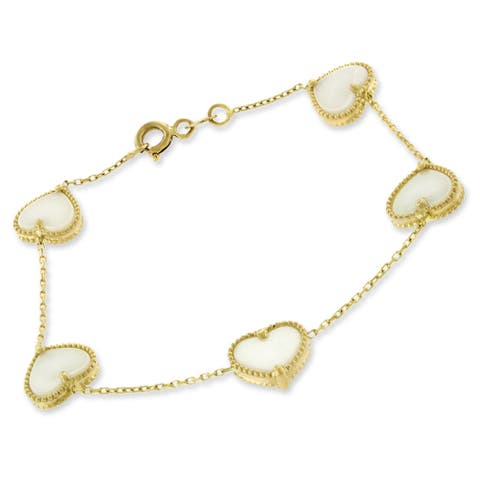 14k Yellow Gold Womens Fancy White Pearl Hearts Cable Link Charm Bracelet Chain 6""