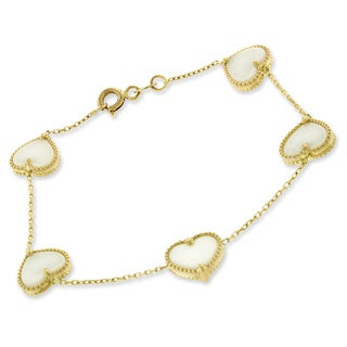 14k Yellow Gold White Pearl Hearts Cable Bracelet Chain 6""