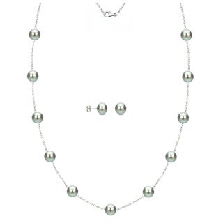 DaVonna Sterling Silver 7-8mm Grey Freshwater Pearl Tin-cup Station Necklace and Stud Earrings Set