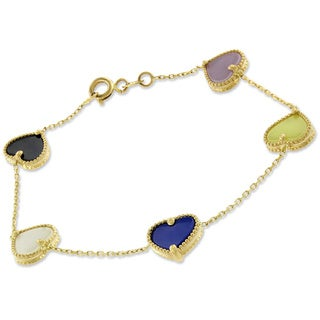 14k Yellow Gold Multicolored Pearl Hearts Cable Bracelet Chain 6""