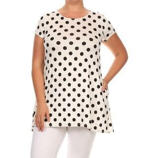 Women's White Plus-size Polka-dot Tunic