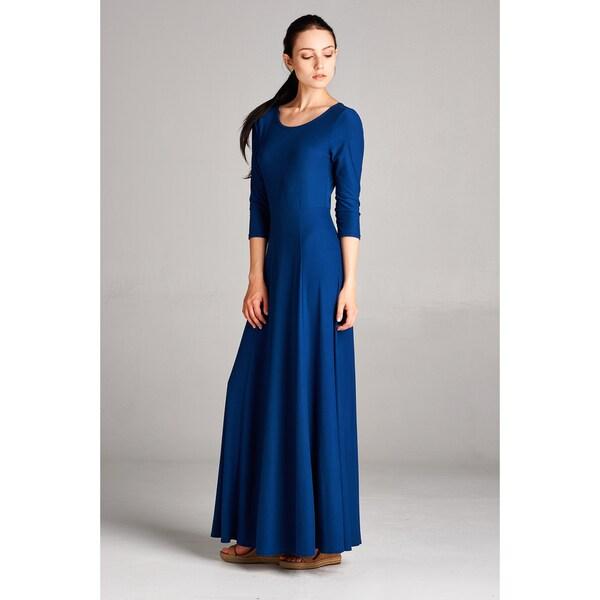 Spicy Mix Women's Brynn Solid 3/4 Sleeve Keyhole Back Maxi Dress
