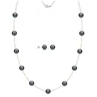DaVonna Sterling Silver 8-9mm Black Freshwater Pearl Tin-cup Station Necklace and Stud Earrings Set