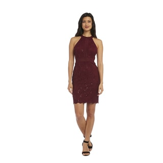 Nightway Red Nylon-blend Glitter Lace Dress