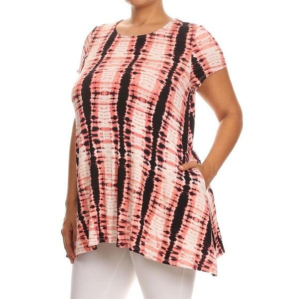 Women's Pink Rayon and Spandex Plus-size Tie-dye Tunic