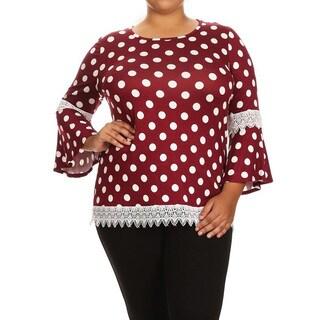 Women's Plus-Size Polka Dot Lace Trim Tunic