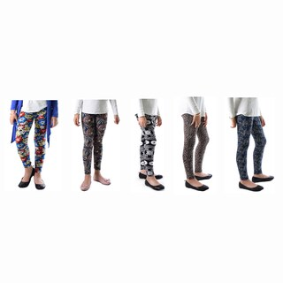 DInamit Girls' Paisely Abstract Printed Legging (Pack of 5)