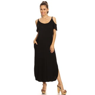 Women's Rayon/Spandex Solid Shoulder Cutout Dress