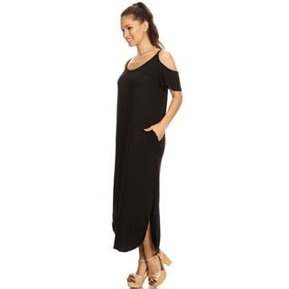Women's Rayon/Spandex Solid Shoulder Cutout Dress