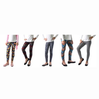 Dinamit Girls' Floral Abstract-print Legging 5-pack