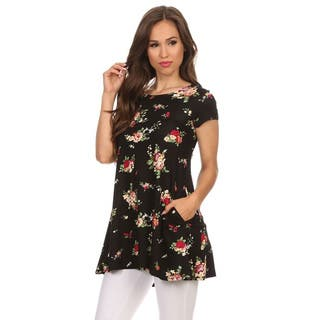 Women's Rayon, Spandex Floral Tunic Top|https://ak1.ostkcdn.com/images/products/14037520/P20654892.jpg?impolicy=medium