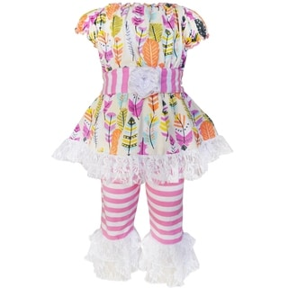 AnnLoren Girls Feathers and Stripes Tunic and Capri Set