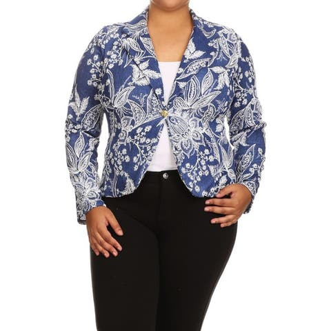Women's Blue Plus Size Abstract Blazer Jacket