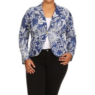 Women's Blue Plus Size Abstract Blazer Jacket|https://ak1.ostkcdn.com/images/products/14037531/P20654894.jpg?impolicy=medium