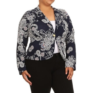 Women's Abstract-print Navy Plus-size Blazer Jacket