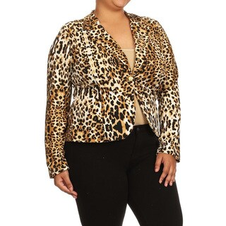 Women's Cheetah-print Plus-size Blazer Jacket