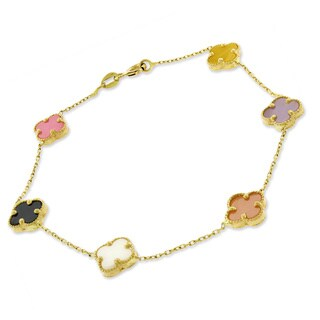 14k Yellow Gold Multicolored Pearl Flowers Charm Bracelet Chain 6""