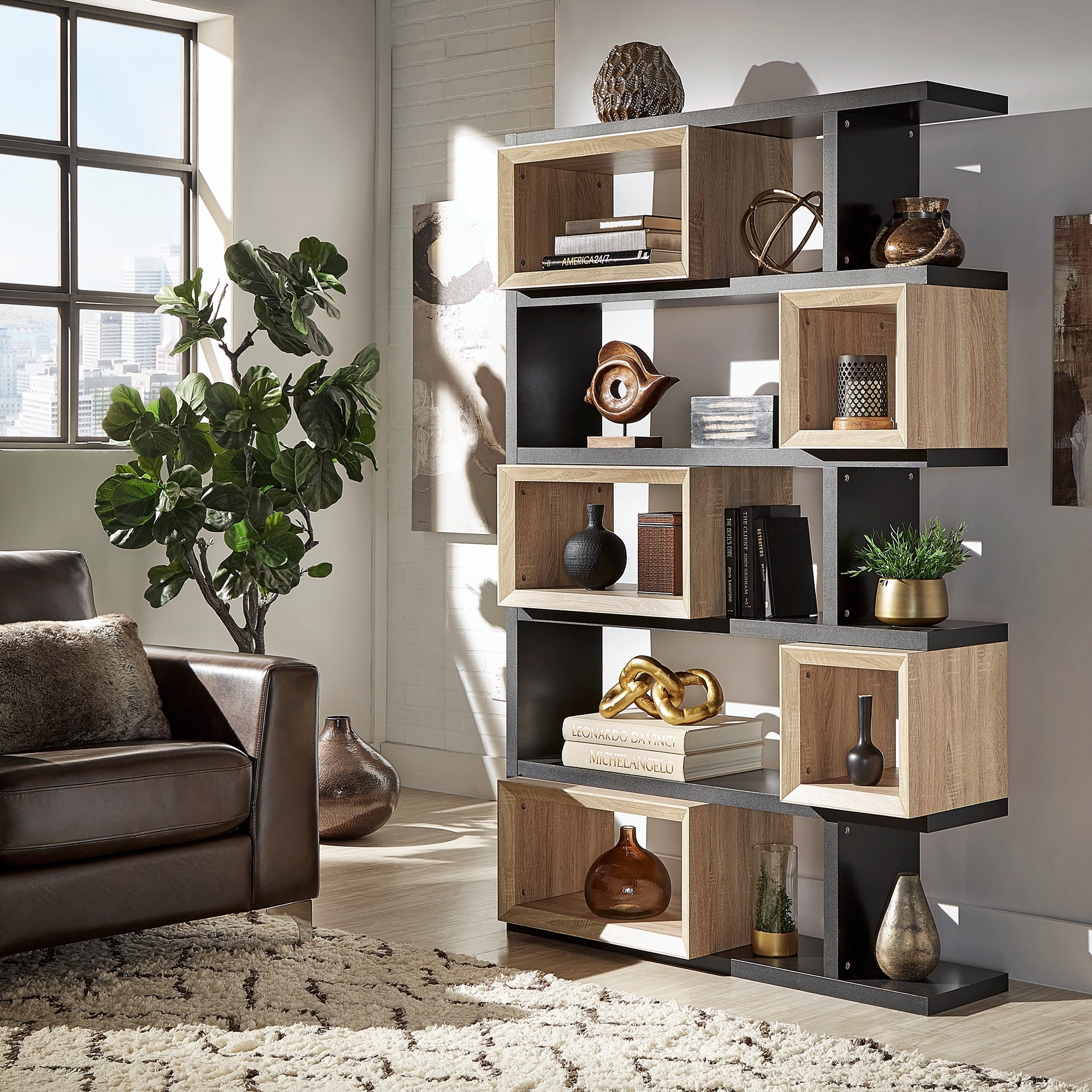 Erika Black And Natural Finish Open Bookshelf Inspire Q Modern