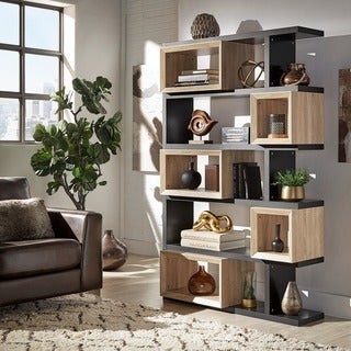Erika Black and Natural Finish Open Bookshelf by MID-CENTURY LIVING