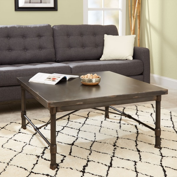 Silverwood Oxford Collection Brown Steel Square Coffee Table