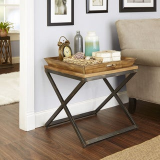 Silverwood Calhoun Industrial Collection Tan Wood Steel End Table