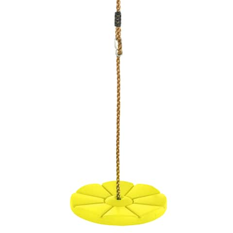 Swingan Cool Disc Swing With Adjustable Rope Fully Assembled Yellow