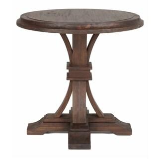 Gray Manor Devon Rustic Java Veneer Acacia Round Accent Table