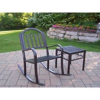 Oakland Living Corporation Hometown Powder-coated Iron Rocking Chair and End Table Set