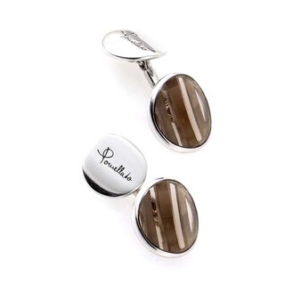 Pomellato G.A921/AG9/QF Silver and Smoky Topaz Button Cufflinks